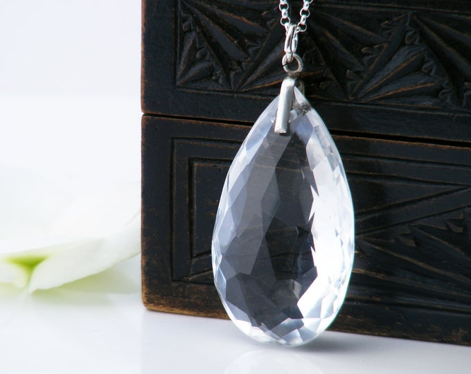 Antique Crystal Pear Pendant   Faceted Cut Crystal Teardrop Necklace   Art Deco Jewelry - 20 Inch Rolo Chain