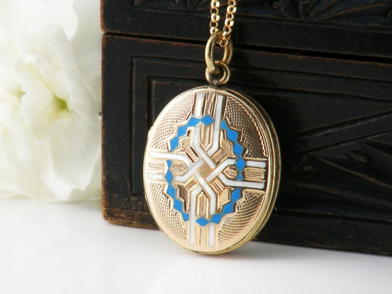 Antique Locket |  Victorian Locket, 9ct Gold Front & Back Locket Necklace | Turquoise and White Enamel - 20 Inch Chain