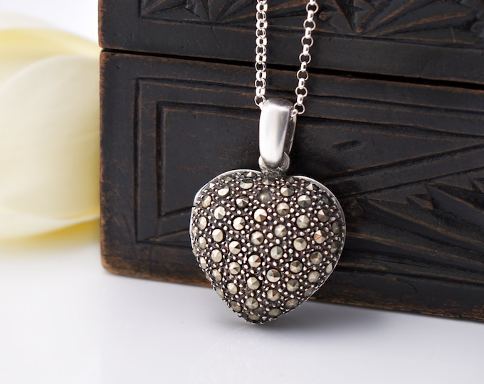 Sterling Silver Heart Locket | Pavé Marcasite Vintage Silver Heart Locket | 925 Silver Love Token - 20 Inch Sterling Chain