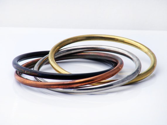 Vintage Mixed Metal Bangle Set | Interwoven 'Russian' Bangles of Black, Silver, Copper, Brass - Medium Size Bracelet Set
