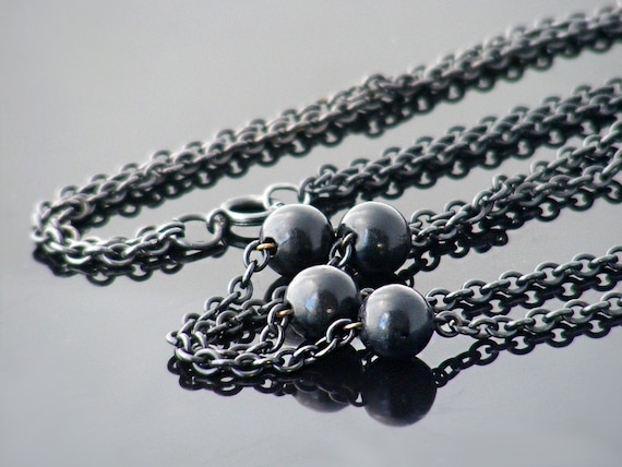 Edwardian Guard Chain | Extra Long Antique Chain | Beaded Black Gunmetal Chain | Black Sautoir - 60 Inch Necklace Chain