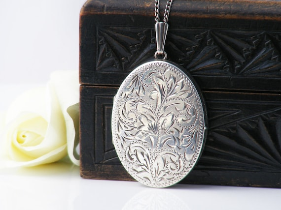 Four Photo Vintage Sterling Silver Locket | Large Engraved Oval Locket | 1970s - 22 Inch Sterling Chain
