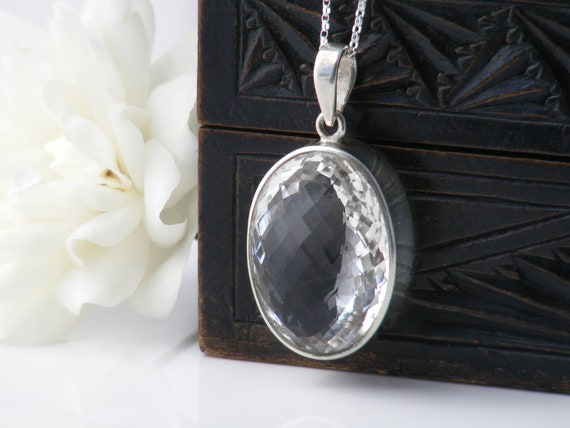 Vintage Quartz Crystal & Sterling Silver Pendant | Faceted Rock Crystal Gemstone Necklace | Large Oval Pendant - 20 inch Sterling Chain