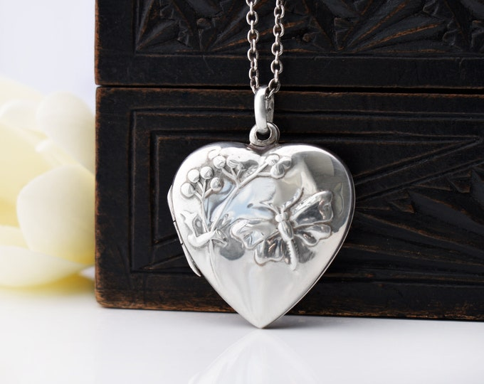 Vintage Sterling Silver Locket | 925 Heart Locket with Butterfly and Flower - 20 Inch or 50cm Vintage Chain