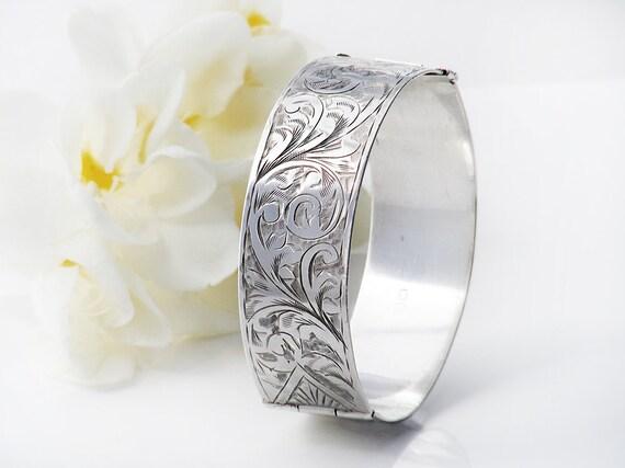 Antique Sterling Silver Cuff Bracelet | Edwardian 1913 Hallmark Wide Hinged Bangle | Vintage Jewelry Gift - 6 Inch Wrist
