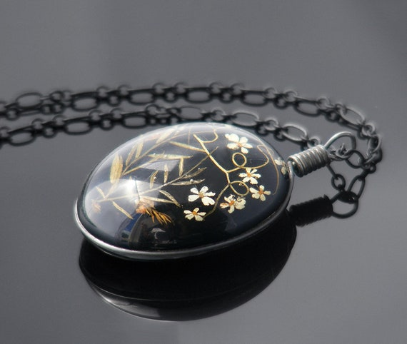 Vintage Flower Pendant | Glossy Black Resin with Tiny 3D Alpine Flowers - 28 Inch Matte Black Chain