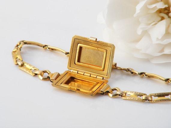 Vintage 14K Gold Filled Locket Bracelet | Unusual Double Photo Locket | 1940s Wrist Locket - Kestenmade Chain Bracelet - 7 Inches