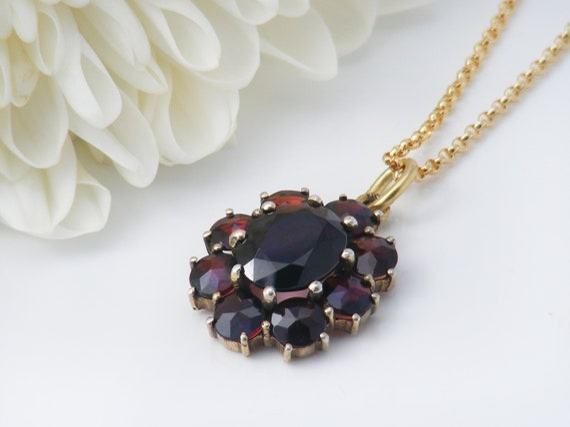 Vintage Garnet Necklace | Bohemian Red Garnet Flower Pendant | Love Token | Pyrope Garnets Set in 10ct Gold - 22 Inch Chain