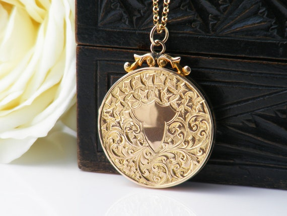 Antique Locket | Solid 9ct Gold Edwardian Locket | .375 Hallmarked English Gold | 1912 Gold Photo Locket | Wedding Necklace - 20 Inch Chain