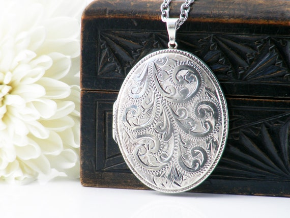 Large Sterling Silver Vintage Locket Necklace | Engraved Oval Locket | 1978 English Silver Hallmark - 34 Inch Long Chain