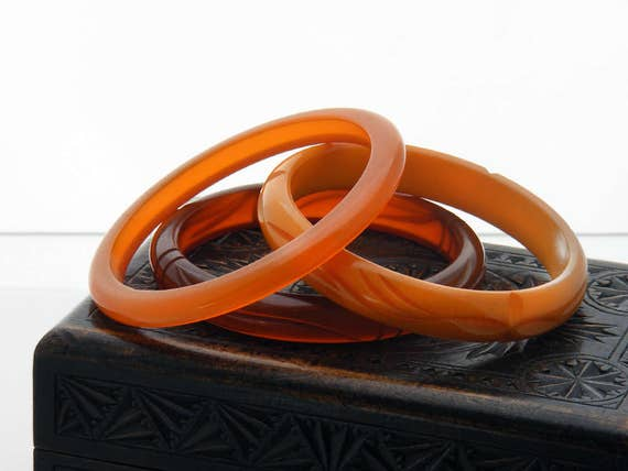 Vintage Bakelite Bangles - Set of 3 in Shades of Orange and Amber | Translucent, Opaque Antique Bakelite Bracelet Trio