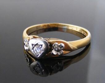 Vintage Diamond Engagement Ring | 1963 English Hallmarks 18ct Gold & Platinum | US Ring Size 6.5 | UK Ring Size N