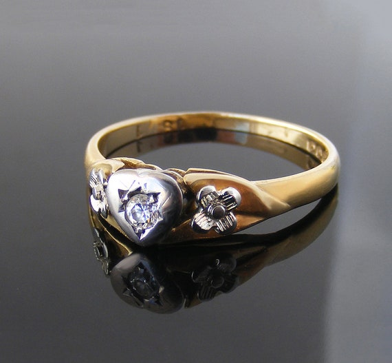 Vintage Diamond Engagement Ring with Heart and Flowers | 1963 English Hallmarks 18ct Gold & Platinum | US Ring Size 6.5 | UK Ring Size N