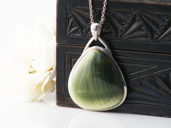 Vintage Pendant | Mid Century Modern Ceramic Pendant, 925 Sterling Silver Abstract Pottery Pendant, Pale Olive Green - 18 Inch Silver Chain