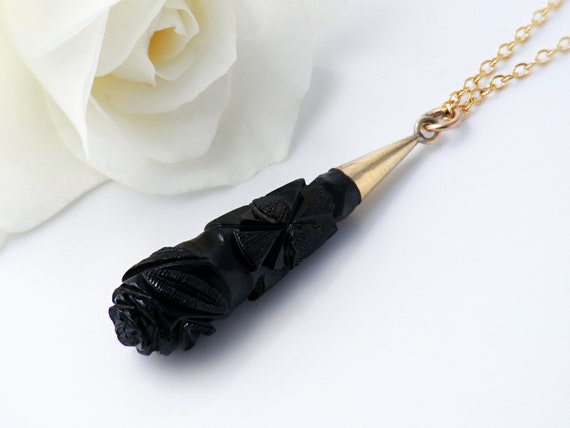 Victorian Drop Pendant | Carved Whitby Jet Drop with 9ct Gold Cap | Antique Black Torpedo Pendant - 24 Inch Chain