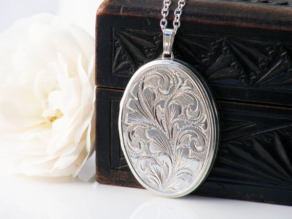 Sterling Silver Vintage Locket Necklace | Large Engraved Oval Locket | 1976 English JAM Silver - 30 Inch Long Sterling Chain