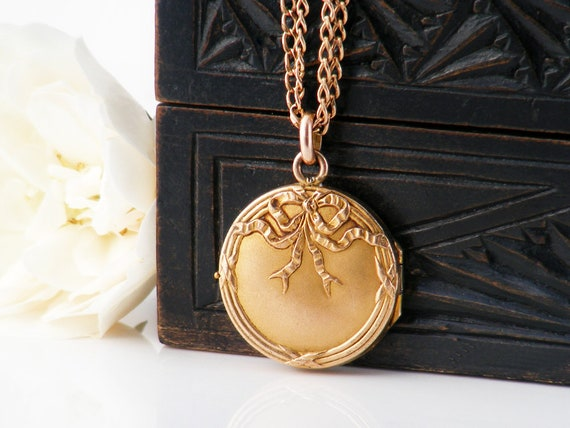 Antique Locket | French Bloomed Gold Filled Victorian Era Locket |  Ribbons & Bow - 60 Inch Extra Long Rose Gold Filled Guard Chain