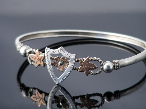 Antique Bracelet | Victorian Bangle Sterling Silver with Rose Gold Flower Shield & Ivy leaves - 6.5 Wrist Size
