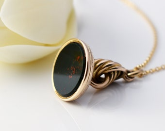 Antique Fob Seal | Victorian Pinchbeck Gold Bloodstone Fob Pendant | Forget-me-not Flowers - 20 Inch Chain