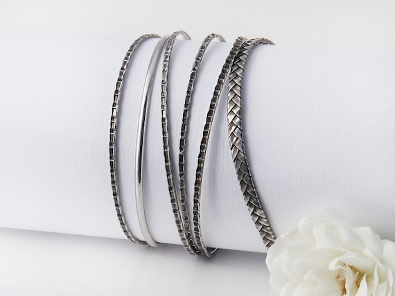 Set of 6 Antique Stacking Bangles | Sterling Silver Bangles Set | 1930s  Bracelet Set | Narrow Stacking Bangles 925 Silver - 7.5 inch