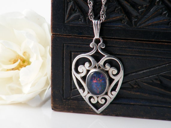 Vintage Opal Pendant | Sterling Silver Heart Pendant | Black Opal Doublet Cabochon | 925 Silver - 24 inch Chain