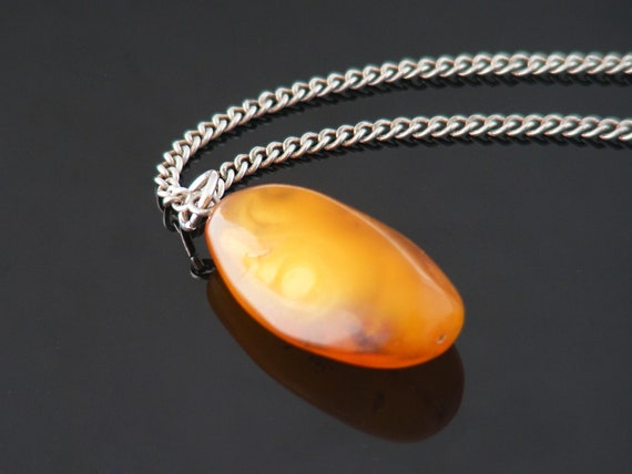 Vintage Egg Yolk Amber Drop Pendant | Polished Natural Amber Necklace - 22 Inch Vintage Sterling Chain