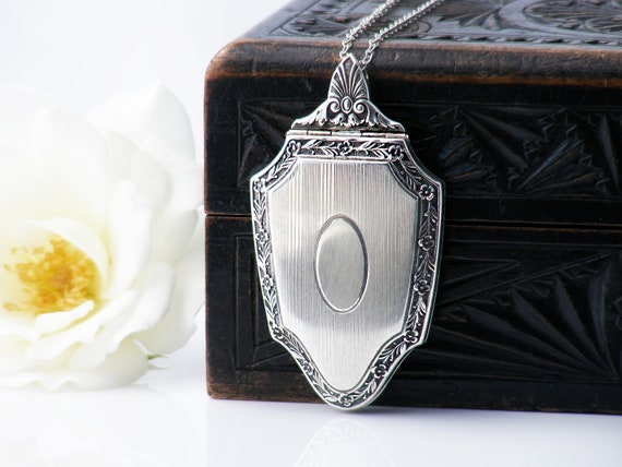 Antique Locket | Art Deco Sterling Pendant | Large & Stylish 1920s Double Photo Locket - 30 Inch Sterling Chain