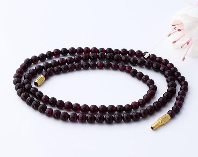 Vintage Garnet Bead Necklace | Polished Wine Red Gemstones | Natural Almandine Garnets - 22 Inches Long