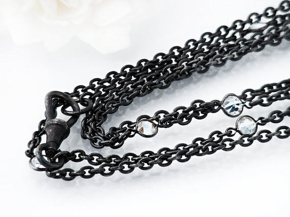 Edwardian Muff Chain | Extra Long Antique Gunmetal Chain, Crystal Stations | 56 Inch or 1.4m plus Fob Clip | Black Sautoir Necklace