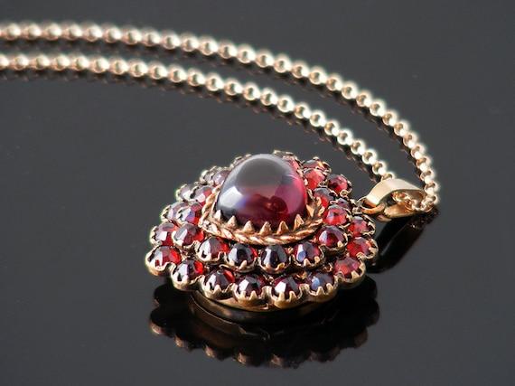 Vintage Bohemian Garnet Heart Locket | Large Garnet Heart Cabochon Pendant Necklace | Pyrope Garnets - 20 Inch Chain
