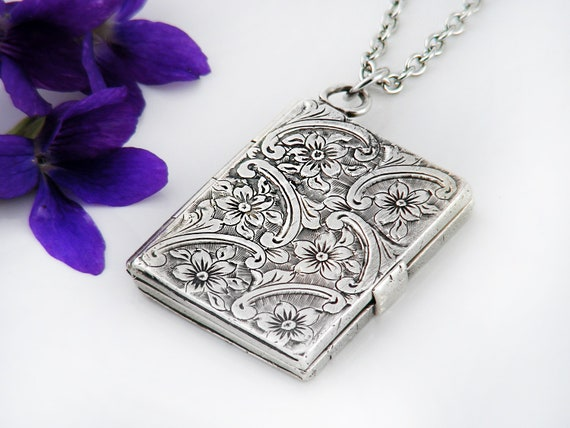 Antique Locket | Victorian Sterling Silver Book Locket Necklace | Arts & Crafts Design Rectangle Locket - 30 Inch Long Chain