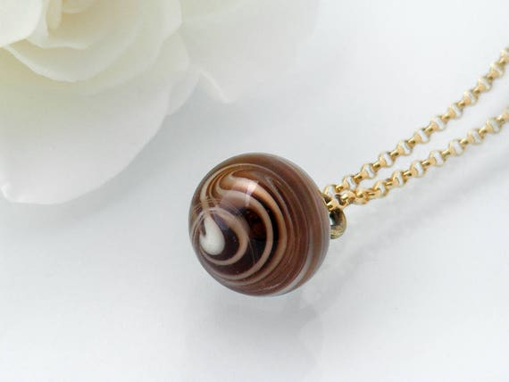 Victorian Drop Pendant | Unique Gift, Coffee, Cream Swirl Glass 'Charm String' Necklace, Antique Glass Pendant - 20 Inch Chain