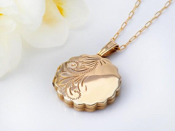 Solid Gold Vintage Locket | 9ct Gold Locket | .375 Hallmarked English Gold | 1979 Solid Gold Wedding Locket Necklace - 20 Inch Chain