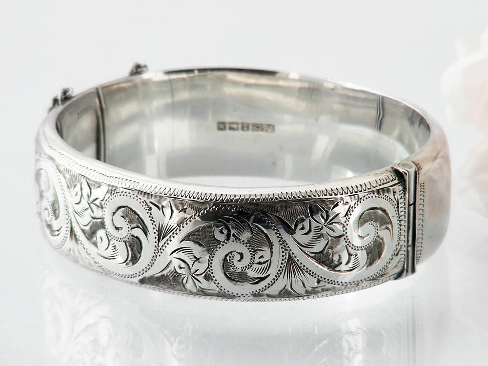 Vintage Sterling Silver Engraved Bracelet