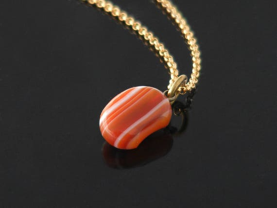 Victorian Lucky Bean Fob Pendant | Antique Agate Pendant | Red & Orange Striped Bean Pendant | Antique Jewelry - 20 Inch Chain