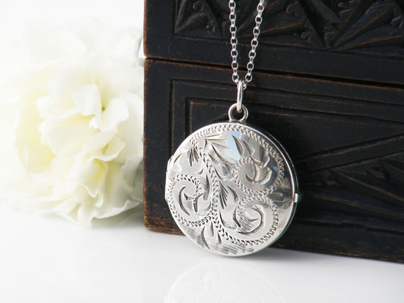 Vintage Sterling Silver Locket Necklace | Hand Chased 925 Round Silver Locket - 20 Inch Chain Included