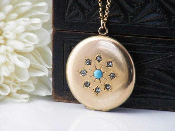 Antique Locket with Turquoise Set Star & Rhinestones | Edwardian Locket Necklace | Polished Gold Double Photo Locket - 22 Inch Rolo Chain
