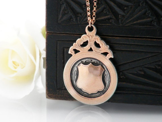Antique Medal | Rose Gold & Sterling Silver Pendant | 1930 English Hallmarked Shield Medallion - 20 Inch Chain