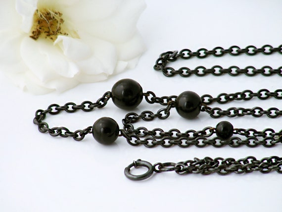 Edwardian Guard Chain | Extra Long Antique Chain | Beaded Black Gunmetal Chain & Black Fob Clip | Black Sautoir - 60 Inch Necklace Chain