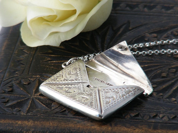 Antique Sterling Silver Locket | Edwardian Silver Stamp Envelope Locket | Stamped Sterling Silver - 20 inch Sterling Chain