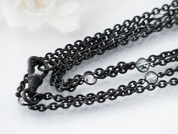 Edwardian Muff Chain | Extra Long Antique Black Gunmetal Chain with Crystals | 56 Inch or 1.4m plus Fob Clip | Black Sautoir