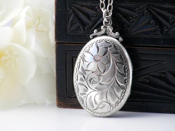Vintage Locket | Birks Sterling Silver Locket | Engraved Oval Birks Locket Necklace | Victorian Revival - 18 Inch Vintage Sterling Chain