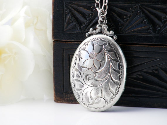 Vintage Locket | Birks Sterling Silver Locket | Victorian Revival - 18 Inch Vintage Rolo Chain