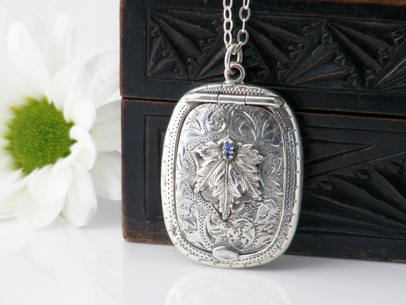Antique Locket with Sapphires | Sterling Silver Chatelaine Case | Forget-me-nots, 1919 English Hallmark, Adie & Lovekin - 20 Inch Chain