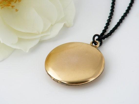 Antique Locket   Satin Gold Victorian Locket   Wightman & Hough, Plain Round Gold Filled Photo Locket - 30 Inch Black Chain