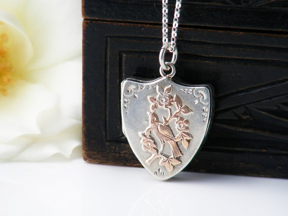Antique Locket | Sterling Silver with Rose Gold Forget-Me-Nots & Bird | 1906 Edwardian Wedding Locket - 20 Inch Sterling Chain