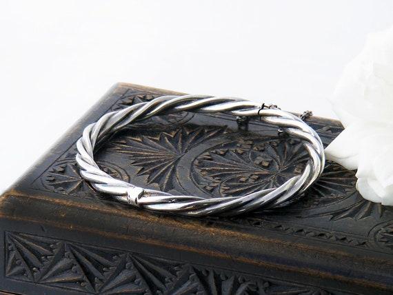 Vintage Sterling Silver Bracelet, Hinged Rope Twist Bangle | Victorian Revival | 1970s English Hallmarks - 7 Inch Wrist