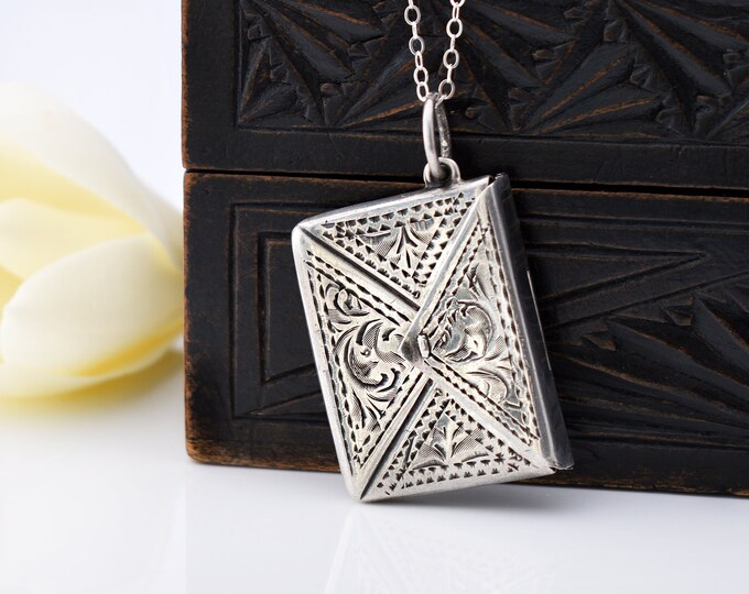 Edwardian Sterling Silver Stamp Envelope | Antique Stamp Case Locket | Chatelaine Silver - 20 inch Rolo Chain