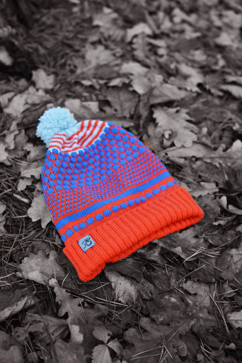 Knitted Merino Wool Beanie Gift for him Colorful Slouchy Hat Bright colors knitted beanie Cap with ponpon Beanie for men Unisex hat