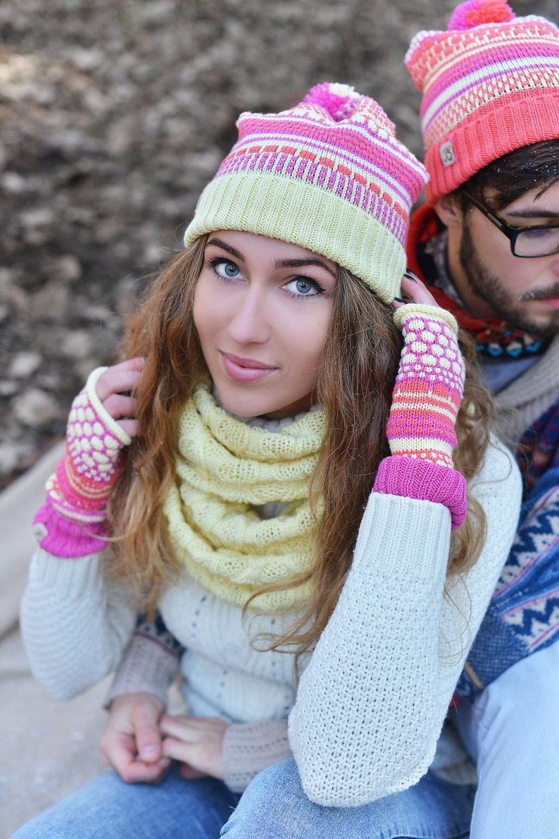 Colorful hat Maching hats for her and him Knitted merino wool caps Two Knitted Beanies Valentines gift Cute Love Couples Caps